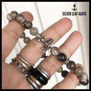 Men or women silver leaf agate anchor bracelet